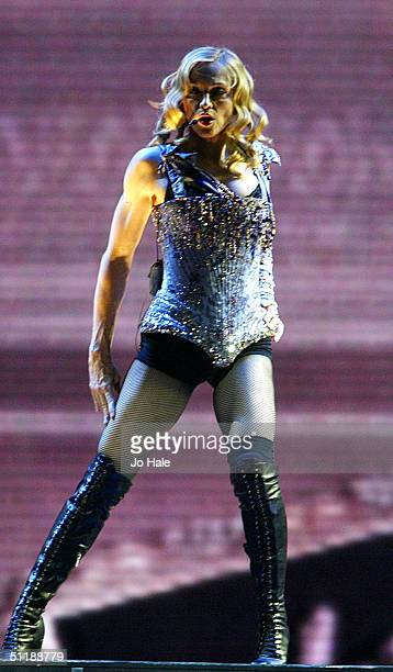 Madonna performs on stage during the first London date of the UK leg of her 'ReInvention' World Tour 2004 at Earl's Court on August 18 2004 in London