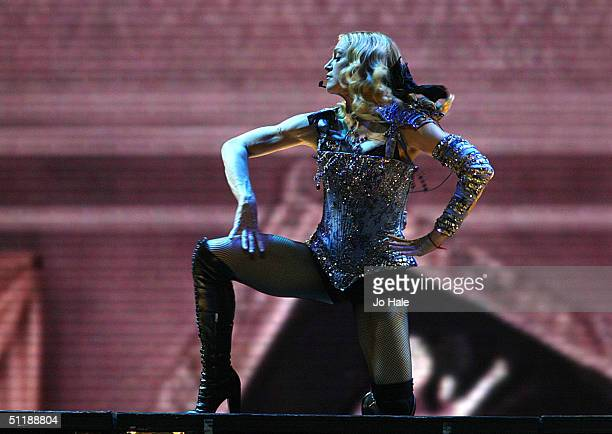 Madonna performs on stage during the first London date of the UK leg of her ReInvention World Tour 2004 at Earl's Court on August 18 2004 in London