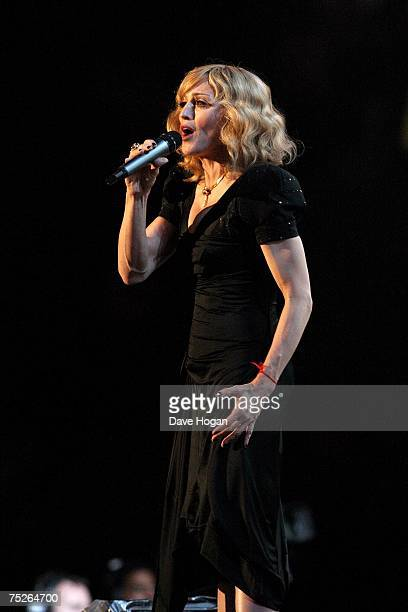 Madonna performs on stage during the Live Earth concert at Wembley Stadium on July 7 2007 in London England Live Earth is a 24hour 7continent series...