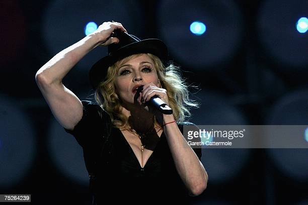 Madonna performs on stage during the Live Earth concert held at Wembley Stadium on July 7 2007 in London Live Earth is a 24hour 7continent concert...