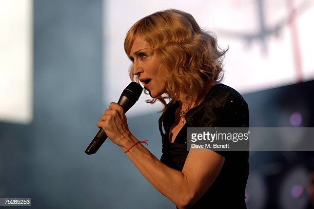 Madonna performs on stage during the Live Earth London concert at Wembley Stadium July 7 2007 in London England Live Earth is a 24hour 7continent...