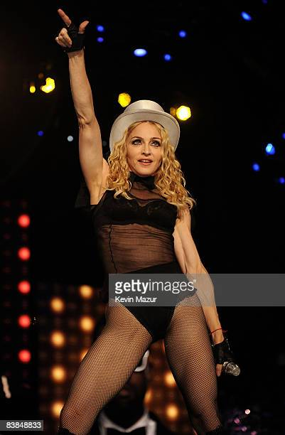 Madonna performs on stage during the ''Sticky & Sweet'' tour at Dolphins Stadium on November 26, 2008 in Miami.