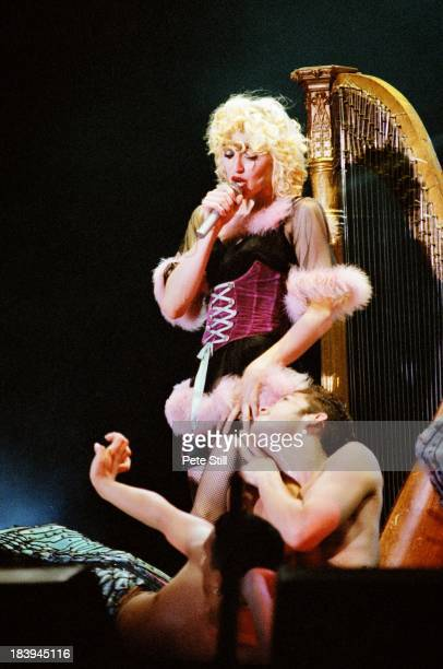 Madonna performs on stage on her Blonde Ambition tour at Wembley Stadium on July 20th 1990 in London England