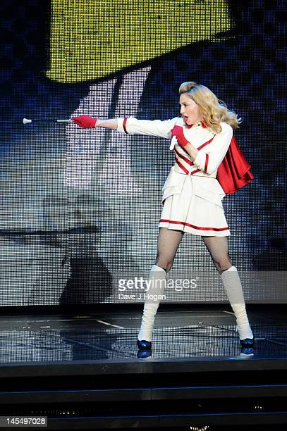 Madonna performs on the first night of her MDNA tour at The Ramat Gan Stadium on May 31 2012 in Tel Aviv Israel
