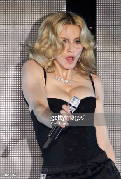 Madonna performs on the Main Stage on the first day of the Radio 1 Big Weekend at Mote Park on May 10 2008 in Maidstone England