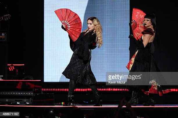 Madonna performs onstage during her Rebel Heart tour at Madison Square Garden on September 16 2015 in New York City