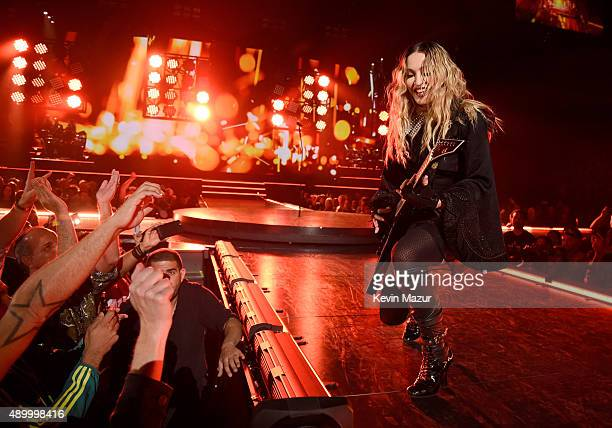 "Madonna performs onstage during her ""Rebel Heart"" tour at Wachovia Center on September 24, 2015 in Philadelphia, Pennsylvania."