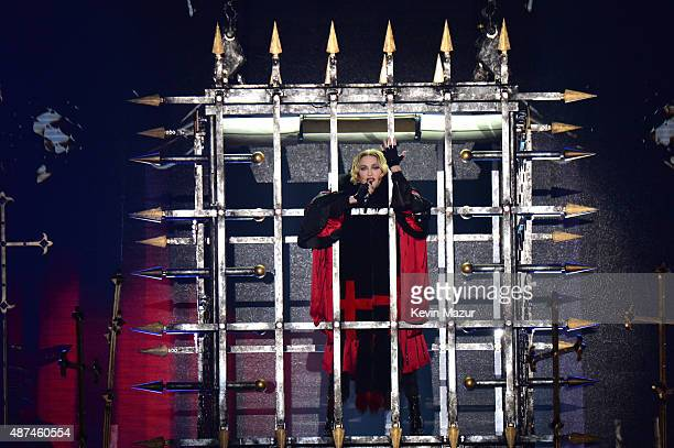 Madonna performs onstage during her 'Rebel Heart' tour opener at Bell Centre on September 9 2015 in Montreal Canada