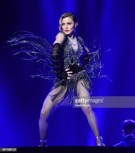 Madonna performs onstage during her Rebel Heart tour opener at Bell Centre on September 9 2015 in Montreal Canada