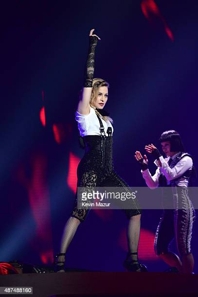 """Madonna performs onstage during her """"Rebel Heart"""" tour opener at Bell Centre on September 9, 2015 in Montreal, Canada."""