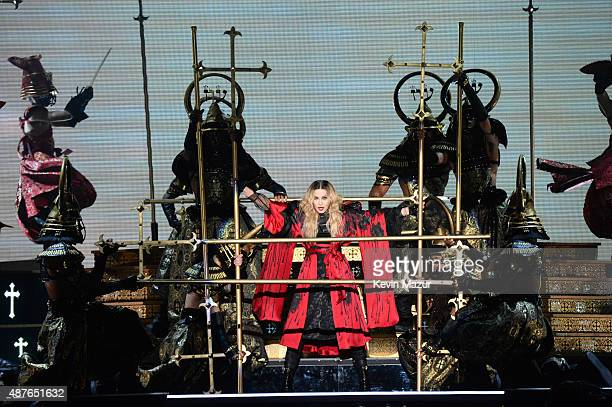 Madonna performs onstage during her Rebel Heart tour opener at Bell Centre on September 10 2015 in Montreal Canada