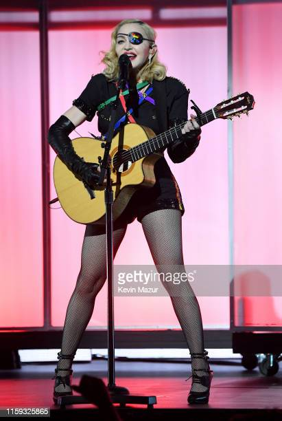 Madonna performs onstage during Pride Island - WorldPride NYC 2019 at Pier 97 on June 30, 2019 in New York City.