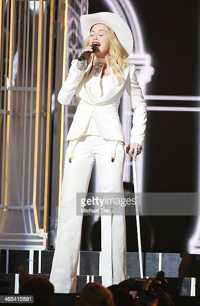 Madonna performs onstage during the 56th GRAMMY Awards held at Staples Center on January 26 2014 in Los Angeles California