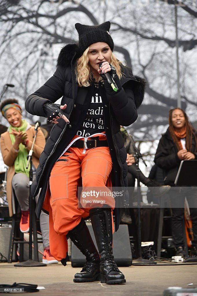 Madonna performs onstage during the Women's March on Washington on January 21, 2017 in Washington, DC.