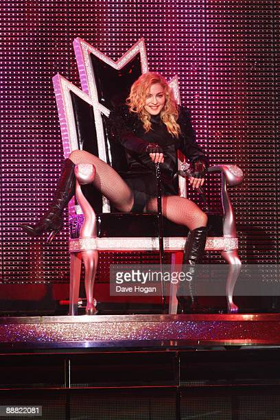 Madonna performs onstage for her 'Sticky and Sweet' tour held at the O2 Arena on July 4 2009 in London England