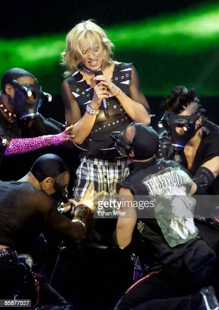 Madonna performs with dancers during the first of two soldout shows at the MGM Grand Garden Arena during her Drowned World Tour September 1 2001 in...