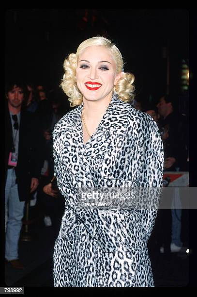 Madonna poses at her Bedtime Story Pajama Party March 18 1995 at Webster Hall in New York City The party was hosted by MTV to promote Madonna's...