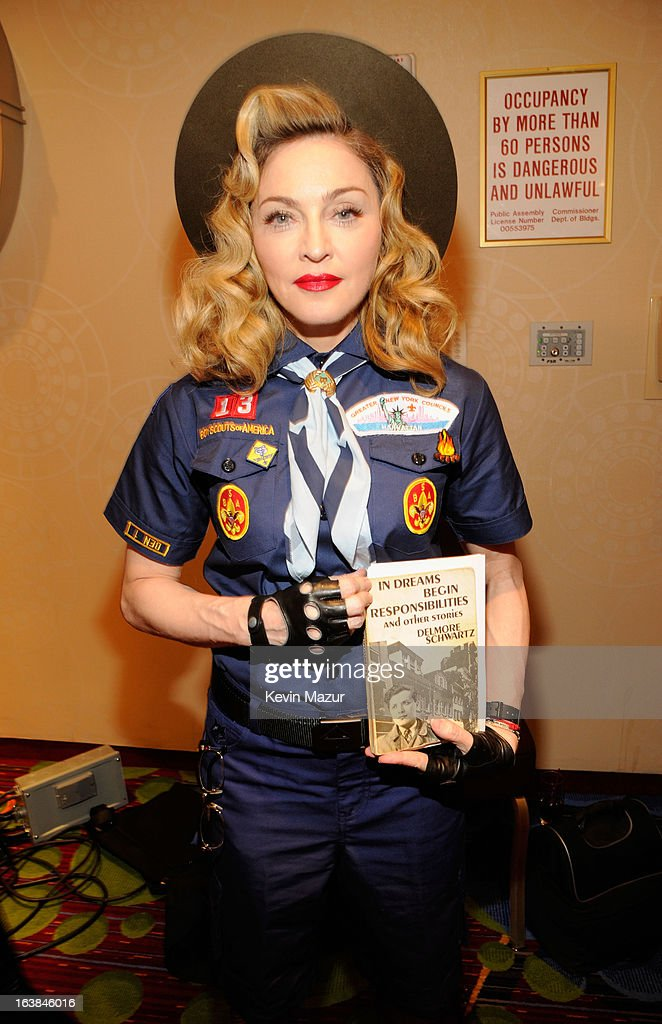 Madonna poses backstage at the 24th Annual GLAAD Media Awards at Marriot Marquis on March 16, 2013 in New York City.