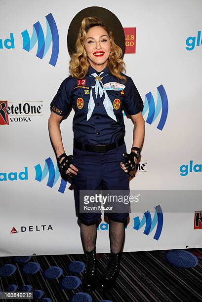 Madonna poses backstage at the 24th Annual GLAAD Media Awards at Marriot Marquis on March 16 2013 in New York City