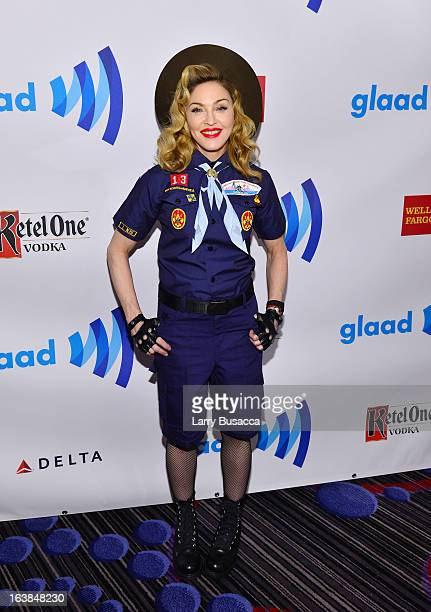 Madonna poses backstage at the 24th Annual GLAAD Media Awards on March 16 2013 in New York City