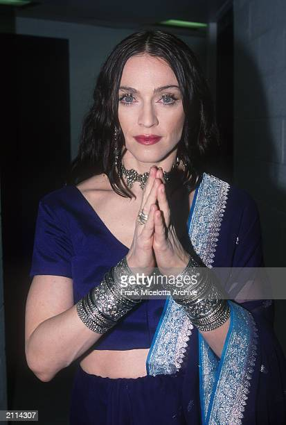 Madonna poses in a sari backstage at the 1998 VH1 Vogue Fashion Awards in New York City October 23 1998