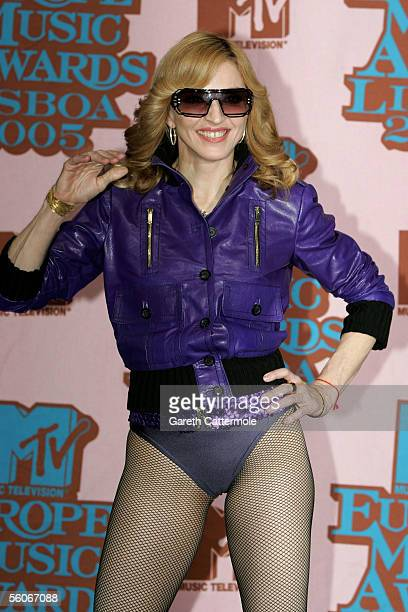 Madonna poses in the Awards Room at the 12th annual MTV Europe Music Awards 2005 at the Atlantic Pavilion on November 3, 2005 in Lisbon, Portugal.