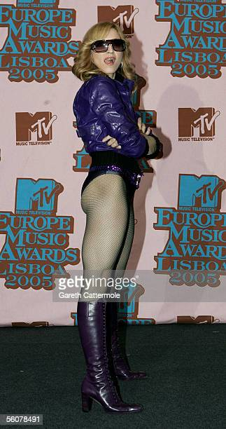 Madonna poses in the Awards Room at the 12th annual MTV Europe Music Awards 2005 at the Atlantic Pavilion on November 3 2005 in Lisbon Portugal