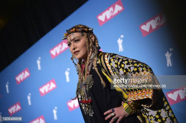 Madonna poses in the press room at the 2018 MTV Video Music Awards at Radio City Music Hall on August 20 2018 in New York City