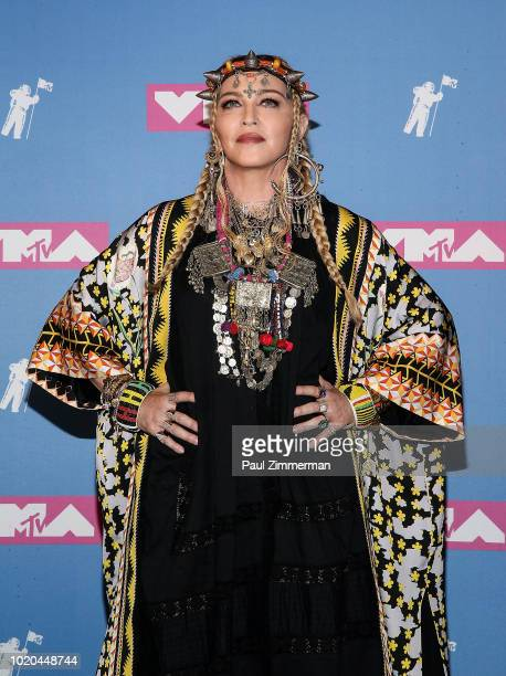 Madonna poses in the press room at the 2018 MTV Video Music Awards Press Room at Radio City Music Hall on August 20 2018 in New York City