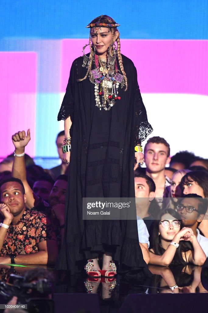 Madonna poses onstage during the 2018 MTV Video Music Awards at Radio City Music Hall on August 20, 2018 in New York City.