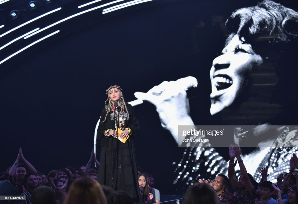 Madonna presents onstage during 2018 MTV Video Music Awards at Radio City Music Hall on August 20, 2018 in New York City.