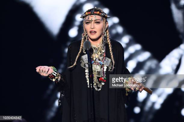 Madonna presents the award for Video of the Year onstage during the 2018 MTV Video Music Awards at Radio City Music Hall on August 20 2018 in New...