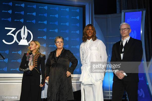 Madonna Rosie O'Donnell Mykki Blanco and Anderson Cooper speak onstage during the 30th Annual GLAAD Media Awards New York at New York Hilton Midtown...