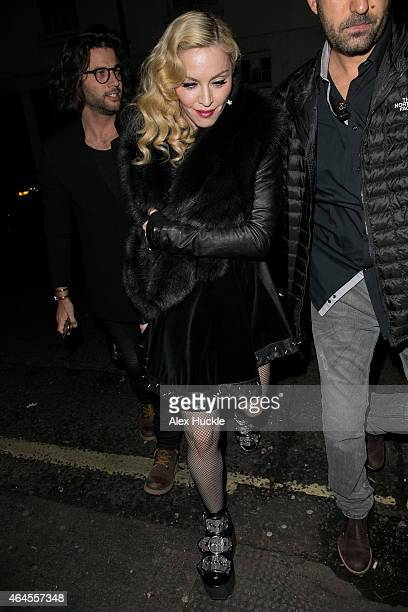 Madonna seen arriving at Annabel's Private members club and restaurant on February 26 2015 in London England