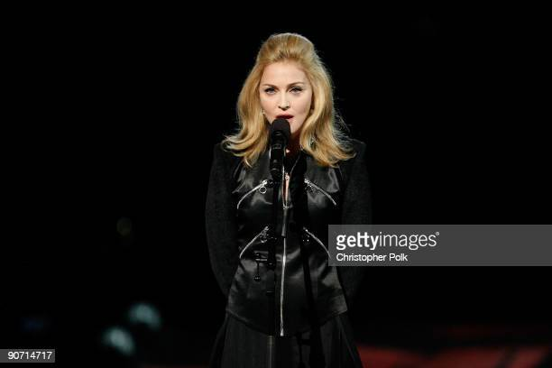 Madonna speaks during a Michael Jackson tribute the 2009 MTV Video Music Awards at Radio City Music Hall on September 13 2009 in New York City