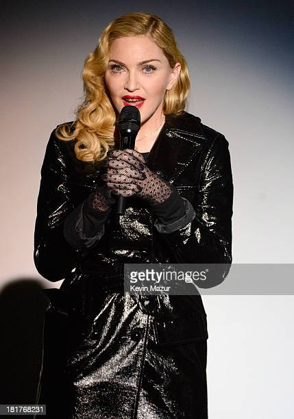 Madonna speaks during Madonna and Steven Klein secretprojectrevolution at the Gagosian Gallery on September 24 2013 in New York City