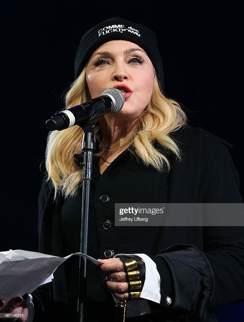 Madonna speaks during the Amnesty International 'Bringing Human Rights Home' Concert at the Barclays Center on February 5, 2014 in the Brooklyn borough of New York City.