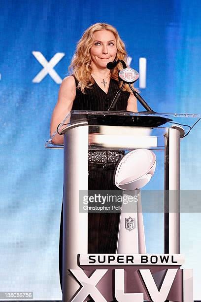 Madonna speaks during the Bridgestone Super Bowl XLVI Halftime Show Press Conference at the Super Bowl XLVI Media Center on February 2 2012 in...
