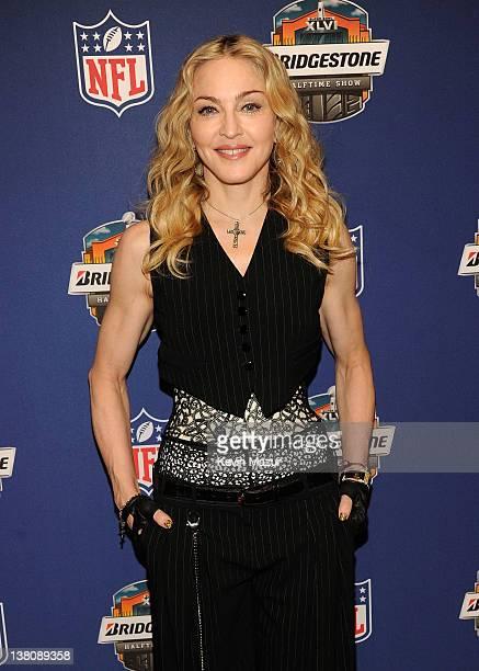Madonna speaks during the Bridgestone Super Bowl XLVI Halftime Show Press Conference at the Super Bowl XLVI Media Center on February 2 2012 in...
