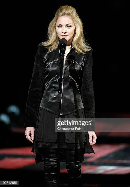 Madonna speaks during the Michael Jackson tribute the 2009 MTV Video Music Awards at Radio City Music Hall on September 13 2009 in New York City