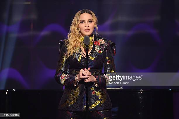 Madonna speaks on stage at the Billboard Women in Music 2016 event on December 9 2016 in New York City