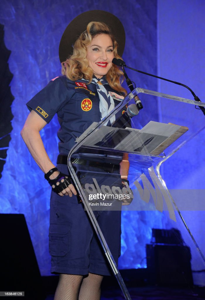 Madonna speaks onstage at the 24th Annual GLAAD Media Awards at Marriot Marquis on March 16, 2013 in New York City.