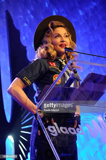 Madonna speaks onstage at the 24th Annual GLAAD Media Awards at Marriot Marquis on March 16 2013 in New York City