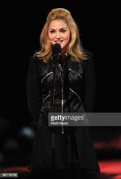 Madonna speaks onstage before a tribute to the late Michael Jackson during the 2009 MTV Video Music Awards at Radio City Music Hall on September 13...