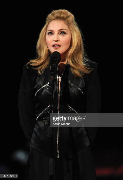 Madonna speaks onstage during the 2009 MTV Video Music Awards at Radio City Music Hall on September 13 2009 in New York City