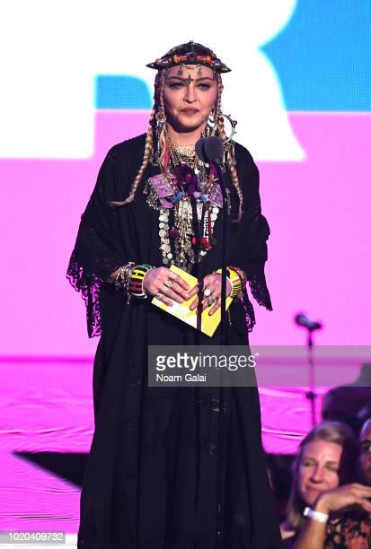Madonna speaks onstage during the 2018 MTV Video Music Awards at Radio City Music Hall on August 20, 2018 in New York City.