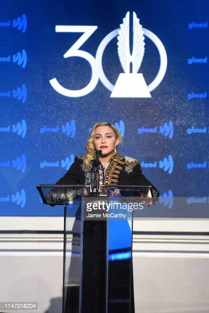 Madonna speaks onstage during the 30th Annual GLAAD Media Awards New York at New York Hilton Midtown on May 04 2019 in New York City