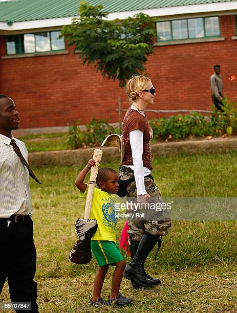 Madonna visits Namitete Secondary School a visit set up through her raising Malawi Foundation on March 30 2009 in Lilongwe Malawi