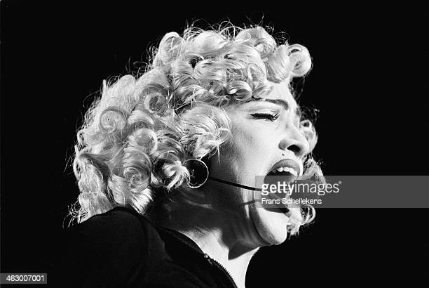 Madonna, vocal performs at the Feijenoord Stadium with Blonde ambition tour in Rotterdam, the Netherlands on 24th July 1990.