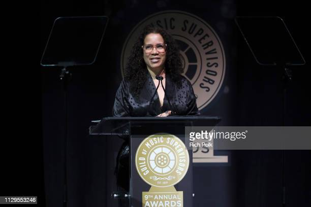 Madonna WadeReed speaks onstage during the 9th Annual Guild of Music Supervisors Awards on February 13 2019 at The Theatre at Ace Hotel in Los...